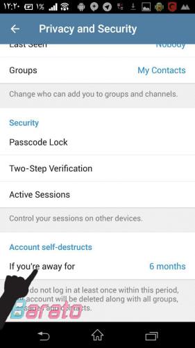 تغییر بازه زمانی حذف خودکار حساب تلگرام