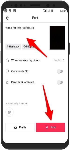 آموزش ارسال پست جدید در تیک تاک TikTok ویدیو در اندروید