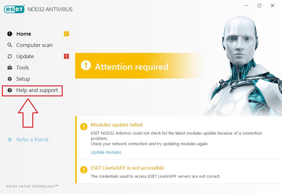 آموزش حل مشکل آپدیت نشدن نود 32 در کامپیوتر ویندوز ارور Attention Required - نارنجی شدن