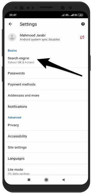 آموزش تصویری تغییر موتور جستجوگر در گوگل کروم اندروید