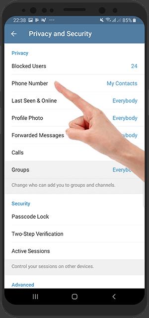 آموزش تصویری مخفی کردن شماره تلفن در تلگرام اندروید