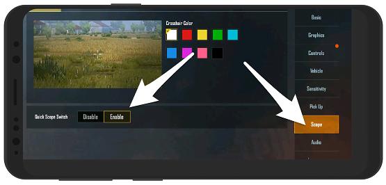 فعال کردن گزینه Quick scope برای تغییر دوربین اسلحه پابجی بدون باز کردن کوله پشتی