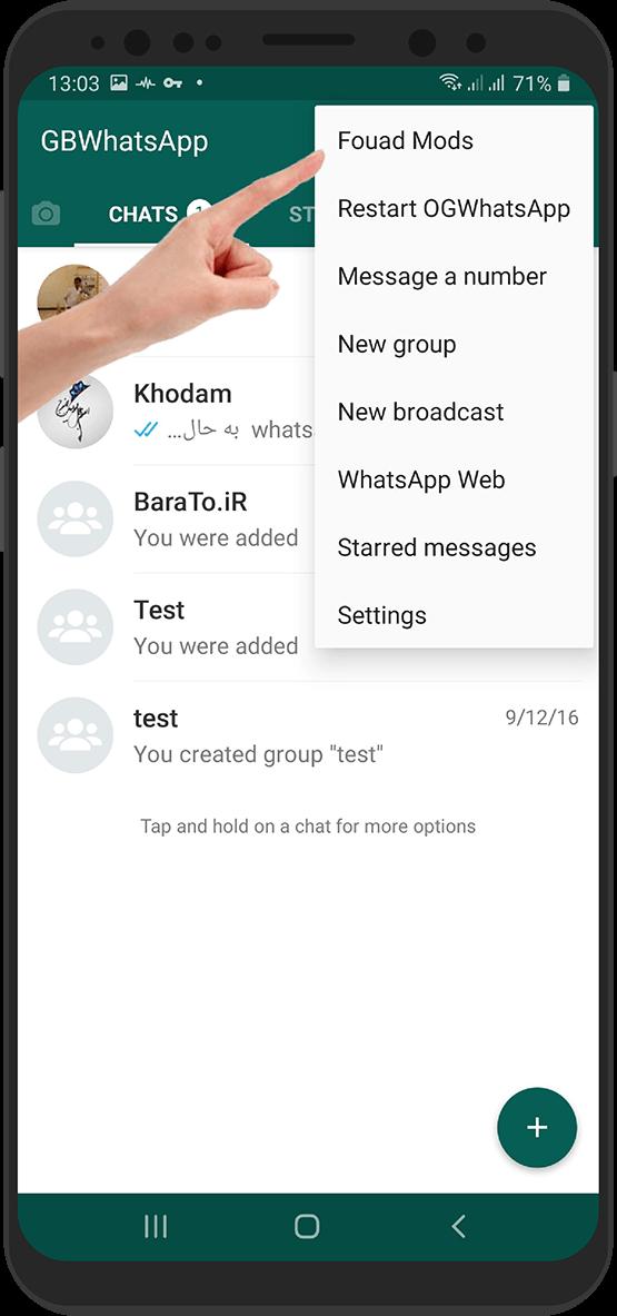 آموزش تصویری تغییر زبان در جی بی واتساپ + اوجی واتساپ - یو واتساپ و اف ام واتساپ